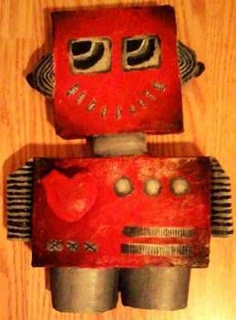 ROBOT LOVE .  Make a mixed media using cereal box, paint, and papier mache. Inspired by gothic. Creation posted by craftylilred. Difficulty: 4/5. Cost: No cost.