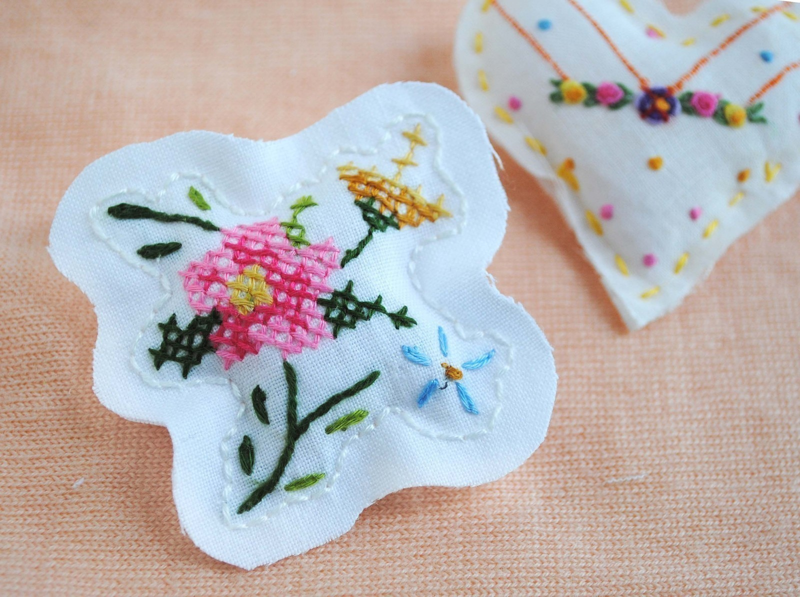 embroidery vegan brooch pin iris