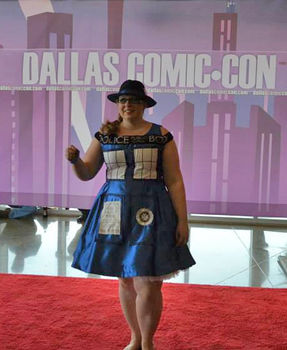 A cute, shiny TARDIS inspired tea dress. .  Sew a costume dress by transfering, sewing, and dressmaking with fabric, thread, and thread. Inspired by costumes & cosplay, clothes & accessories, and tardis. Creation posted by arashkya.  in the Needlework section Difficulty: 3/5. Cost: 4/5.