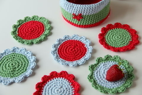 The basket to put your crochet coasters in; a beautiful way to keep them together .  Free tutorial with pictures on how to stitch a knit or crochet coaster in under 120 minutes by crocheting with yarn and crochet hook. How To posted by creJJtion. Difficulty: Easy. Cost: Cheap. Steps: 4