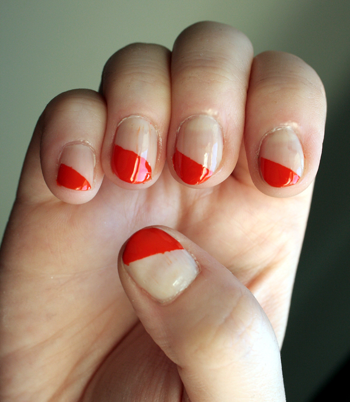 Simple Nail Art Cost: Easy Diagonal Manicure · How To Paint Patterned Nail Art