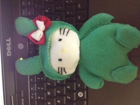 Green Hello Kitty Plush  .  Make a cat plushie in under 60 minutes by needleworking and sewing with felt, needle and thread, and toy stuffing . Inspired by hello kitty and kawaii. Creation posted by Maria.  in the Needlework section Difficulty: Simple. Cost: Absolutley free.