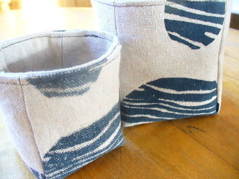 Fun hand printed canvas baskets .  Sew a fabric basket in under 30 minutes by sewing with canvas and the kit. Inspired by gifts and clothes & accessories. Creation posted by sneezerville.  in the Needlework section Difficulty: Simple. Cost: 3/5.