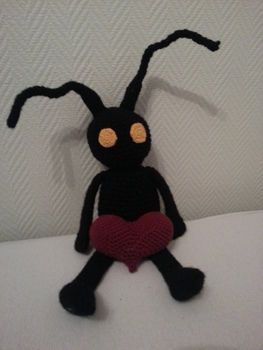 This little Heartless got himself a heart! .  Make a character plushie by crocheting and amigurumi with yarn, yarn, and crochet hook. Inspired by gifts, kingdom hearts, and hearts. Creation posted by Marsle.  in the Yarncraft section Difficulty: Easy. Cost: Cheap.