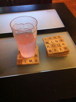 A conversation starter for you table :) .  Recycle a scrabble coaster in under 90 minutes by decoupaging with hot glue gun, adhesive, and mod podge. Creation posted by KikiStar.  in the Home + DIY section Difficulty: Simple. Cost: Cheap.