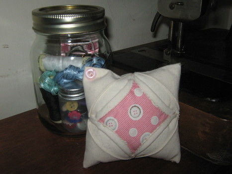 Cute & thoughtful gift for the sewing lover in your life. .  Make a jar in under 10 minutes by sewing with glass jar and sewing materials. Inspired by gifts. Creation posted by Georgia.  in the Other section Difficulty: Easy. Cost: Cheap.