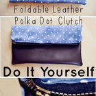 Foldable Leather Polka Dot Clutch