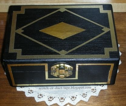 If you love Gatsby you'll love this box! .  Free tutorial with pictures on how to paint a painted box in under 20 minutes by decorating and constructing with paper, glue, and acrylic paint. Inspired by the great gatsby and geometric. How To posted by TesaJanuska.  in the Decorating section Difficulty: Easy. Cost: No cost. Steps: 2