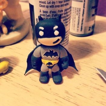 I love batman!! im new at clay work. .  Sculpt a clay superhero in under 40 minutes by creating with needle, paint, and acrylic paint. Inspired by crafts, gifts, and batman. Creation posted by itsmeLinda.  in the Other section Difficulty: 3/5. Cost: 3/5.