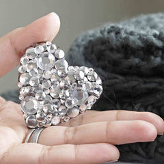 Square hand crafted jewelry diy brooch out of leather and round studs