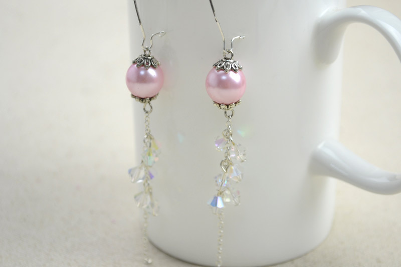 Diy Vintage Jewelry Handmade Earrings With Pearl Lantern And Crystal Tel Free Tutorial