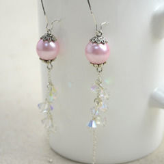 Diy Vintage Jewelry  Handmade Earrings With Pearl Lantern And Crystal Tassel