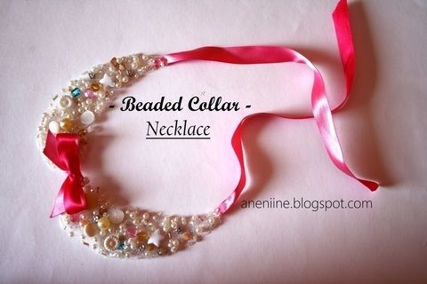 Tie-on beaded collar necklace .  Free tutorial with pictures on how to make a beaded collar in under 60 minutes by beading, embellishing, and sewing with hot glue gun, tulle, and gems. Inspired by clothes & accessories. How To posted by aneniine. Difficulty: Simple. Cost: Cheap. Steps: 21