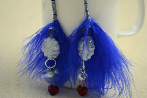 DIY feather earrings-Feather's blue combined with pearl's pure white .  Free tutorial with pictures on how to make a feather earring in under 120 minutes by jewelrymaking with jump rings, glass beads, and eye pins. Inspired by clothes & accessories. How To posted by .  in the Jewelry section Difficulty: Easy. Cost: Cheap. Steps: 5