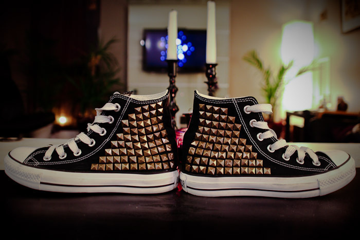 ec492cc12 Purchase some inexpensive studs and get to hammering on a pair of Converse!  The perfect ...