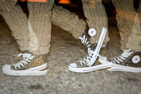 Purchase some inexpensive studs and get to hammering on a pair of Converse! The perfect look for any time of year, this DIY will never go out of style. .  Free tutorial with pictures on how to make a pair of embellished shoes in under 120 minutes by studding and studding with studs, needle nose pliers, and hammer. Inspired by converse and clothes & accessories. How To posted by IceCreemDreem.  in the Other section Difficulty: 3/5. Cost: Cheap. Steps: 3