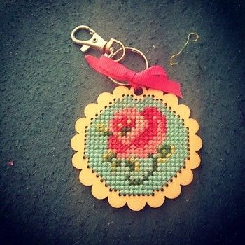 Kit from Cross Stitcher Magazine .  Make a stitched charm by needleworking, cross stitching, and cross stitching with embroidery thread and key ring. Inspired by roses. Creation posted by Tess.  in the Needlework section Difficulty: Simple. Cost: Cheap.