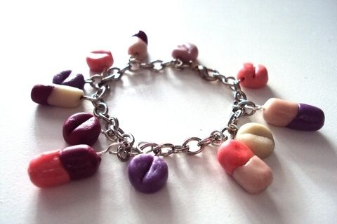 """""""Take the pill!"""" cit. Emilie Autumn .  Sculpt a clay bracelet in under 130 minutes using chain, oven, and round nose pliers. Inspired by gothic, vintage & retro, and kawaii. Creation posted by Juliet J.  in the Jewelry section Difficulty: Easy. Cost: Absolutley free."""