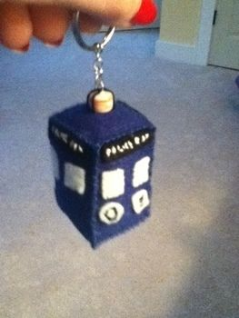 This'll keep your keys safe! Just listen for the WOOSH, WOOSH! .  Free tutorial with pictures on how to sew a fabric character charm in under 90 minutes by sewing and hand sewing with felt, felt, and felt. Inspired by tardis. How To posted by Grayson D.  in the Sewing section Difficulty: Simple. Cost: Cheap. Steps: 5
