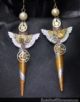 Steam Punk+nails+earrings= AMAZE .  Make a pair of hardware earrings in under 180 minutes by nail painting and jewelrymaking with beads, nail polish, and nails. Inspired by steampunk, costumes & cosplay, and vintage & retro. Creation posted by CiiMoore.  in the Jewelry section Difficulty: 3/5. Cost: 3/5.