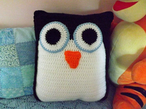 Crocheted Pillow Pal .  Stitch a knit or crochet cushion by crocheting with crochet hook, wool, and pillow. Inspired by birds, kawaii, and penguins. Creation posted by PixieFey.  in the Yarncraft section Difficulty: Simple. Cost: Cheap.