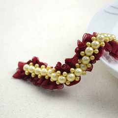 Make Cool Bracelets Out Of Pearl Beads And Organza Ribbon