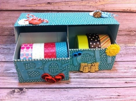 Create functional storage for your craft supplies. .  Free tutorial with pictures on how to embellish a shell box in under 40 minutes by papercrafting with buttons, hot glue, and cardstock. How To posted by cardparties.  in the Papercraft section Difficulty: Easy. Cost: Cheap. Steps: 5