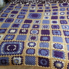 Random Granny Squares Throw......Purple