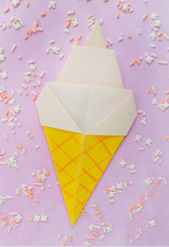 Fold up this origami soft serve ice cream for summer  .  Free tutorial with pictures on how to fold an origami food in under 5 minutes by papercrafting with paper. How To posted by Jessica O.  in the Papercraft section Difficulty: Easy. Cost: Absolutley free. Steps: 5