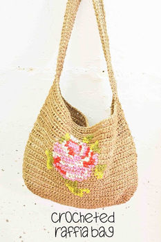 Raffia is easier to crochet with than you think. .  Stitch a knit or crochet bag in under 180 minutes by crocheting with crochet hook and raffia. Inspired by clothes & accessories. Creation posted by maize hutton.  in the Yarncraft section Difficulty: 3/5. Cost: 3/5.