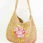 Crocheted Raffia Messenger Bag