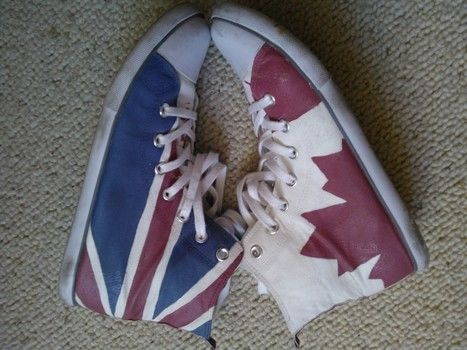 Show off your national pride on a pair of otherwise plain shoes. .  Paint a pair of painted shoes in under 60 minutes by creating with fabric paint and sneakers. Inspired by converse, canadian, and union jack. Creation posted by OllieOdd.  in the Art section Difficulty: Simple. Cost: Cheap.
