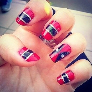 Deadpool nail art .  Paint patterned nail art in under 40 minutes by nail painting with nail polish, nail polish, and nail stickers. Inspired by halloween, costumes & cosplay, and kawaii. Creation posted by Fernanda Bel.  in the Beauty section Difficulty: Simple. Cost: Cheap.