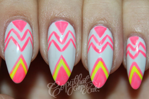 Your nails deserve a little attention! .  Free tutorial with pictures on how to paint a geometric nail manicure in 9 steps by nail painting with nail polish, nail polish, and nail polish. Inspired by geometric. How To posted by Copy That Copy Cat Nails.  in the Beauty section Difficulty: Simple. Cost: Absolutley free.