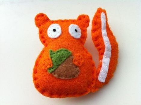 Will always share acorns. .  Sew a fabric animal brooch in under 30 minutes by needleworking, embroidering, needlepointing, sewing, and felting with felt and needle and thread. Inspired by crafts, gifts, and animals. Creation posted by English Ginger. Difficulty: Easy. Cost: Absolutley free.