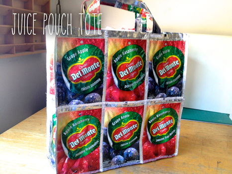 Easy recycled tote that can be made in different sizes! .  Free tutorial with pictures on how to make a recycled tote in under 60 minutes by sewing with thread and juice pouches. Inspired by clothes & accessories. How To posted by Reina M.  in the Sewing section Difficulty: Simple. Cost: No cost. Steps: 32