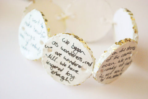 Carry your favorite quotes on your wrist with this DIY clay bracelet! .  Free tutorial with pictures on how to sculpt a clay bead bracelet in under 40 minutes by jewelrymaking with paint, sculpting tools, and paper clay. How To posted by Jordan Clark.  in the Jewelry section Difficulty: Easy. Cost: Cheap. Steps: 4