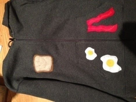 Toast, eggs, and bacon aren't just for breakfast anymore. .  Free tutorial with pictures on how to embellish a t-shirt in under 120 minutes using sweater, felt, and felt. How To posted by Melissa Beth.  in the Needlework section Difficulty: Easy. Cost: Cheap. Steps: 6