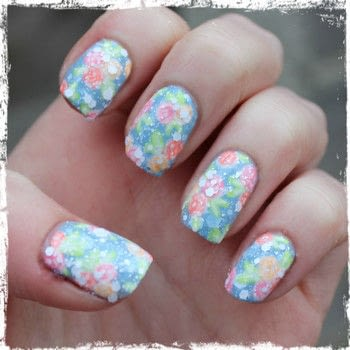 Create your own vintage-feel floral mani .  Free tutorial with pictures on how to paint patterned nail art in under 30 minutes by nail painting with nail polish, brush, and top coat nail polish. Inspired by floral. How To posted by dahlia_nails.  in the Beauty section Difficulty: Simple. Cost: Cheap. Steps: 3