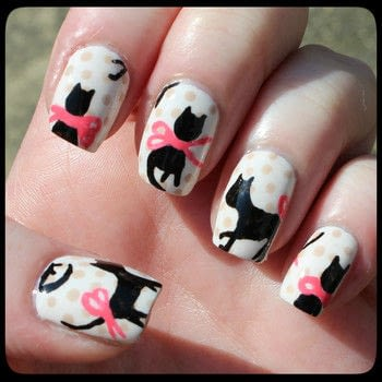 Are you as crazy about cats as we are? Try our cute cat nails. .  Free tutorial with pictures on how to paint an animal nail in under 60 minutes by nail painting with nail polish, brush, and top coat nail polish. Inspired by cats. How To posted by dahlia_nails.  in the Beauty section Difficulty: 4/5. Cost: Absolutley free. Steps: 3