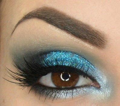 Glitter Ocean make up .  Free tutorial with pictures on how to create a glitter eye in under 15 minutes by applying makeup and applying makeup with lipstick, eye lashes, and mascara. Inspired by nautical and blue. How To posted by Lelly M.  in the Beauty section Difficulty: 3/5. Cost: 3/5. Steps: 7