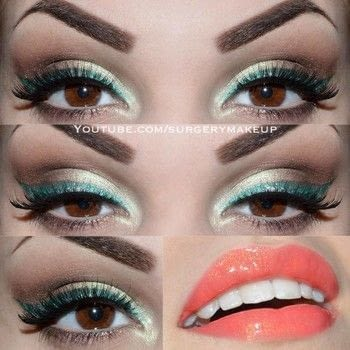 Green eyeliner look .  Free tutorial with pictures on how to create a green eye makeup look in under 10 minutes by applying makeup with eyeshadow, eyeshadow, and eyeliner. Inspired by green. How To posted by Lelly M.  in the Beauty section Difficulty: 3/5. Cost: 3/5. Steps: 5