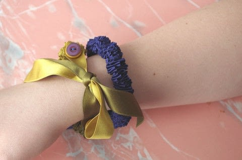 Turn ribbon into jewelry. .  Free tutorial with pictures on how to make a ribbon bracelet in under 30 minutes by hand sewing and jewelrymaking with ribbon, buttons, and thread. Inspired by gifts, birthdays, and parties. How To posted by Heather M. Love.  in the Sewing section Difficulty: Easy. Cost: Absolutley free. Steps: 4