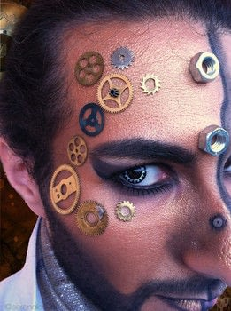 Tick ..tock..tick..tock.It's a Steampunk hero! .  Free tutorial with pictures on how to create a face painting in under 50 minutes using bolts, makeup brushes, and eyeliner. Inspired by comic books, steampunk, and vintage & retro. How To posted by Serena A.  in the Beauty section Difficulty: 3/5. Cost: Cheap. Steps: 1