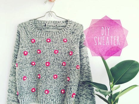 Give that old sweater a new look,freshen it up with this DIY Sweater using Neon Yarn and Pearls .  Free tutorial with pictures on how to make a sweater or cardigan in under 45 minutes by embellishing with sweater, yarn, and pearls. How To posted by enthralling g.  in the Needlework section Difficulty: 3/5. Cost: 3/5. Steps: 11