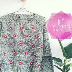 Diy Sweater With Neon Yarn And Pearls