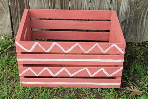 Use Milk Paint to restyled a wooden crate .  Free tutorial with pictures on how to make a wooden box in under 120 minutes by decorating with crate, milk, and paint brush. How To posted by studiokatie.  in the Decorating section Difficulty: Simple. Cost: 3/5. Steps: 8
