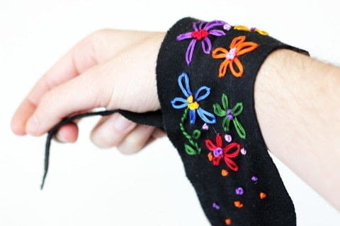 Learn how to embroider a boho-inspired wrap cuff with this easy tutorial! .  Free tutorial with pictures on how to stitch a stitched bracelet in under 120 minutes by jewelrymaking and embroidering with jersey fabric, embroidery thread, and sewing needle. How To posted by Melody M.  in the Needlework section Difficulty: Simple. Cost: Absolutley free. Steps: 3