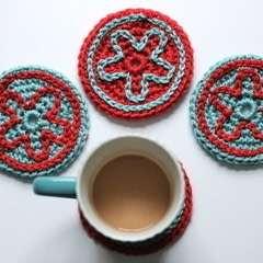 Slip Stitch Embroidery Coasters