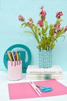 Make A Beautiful Vase With Paper Straws .  Free tutorial with pictures on how to make a pot in under 10 minutes by decorating with soup, e6000 glue, and craft paint. How To posted by Anima P.  in the Art section Difficulty: Simple. Cost: Cheap. Steps: 5
